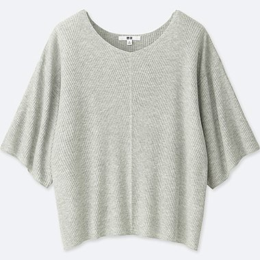 WOMEN RIBBED DOLMAN V NECK 3/4 SLEEVE SWEATER