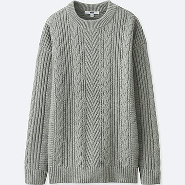 WOMEN CABLE KNIT CHUNKY CREW NECKLONGLINE JUMPER