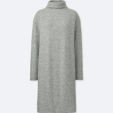 WOMEN SOFT KNIT FLEECE LONG SLEEVED DRESS