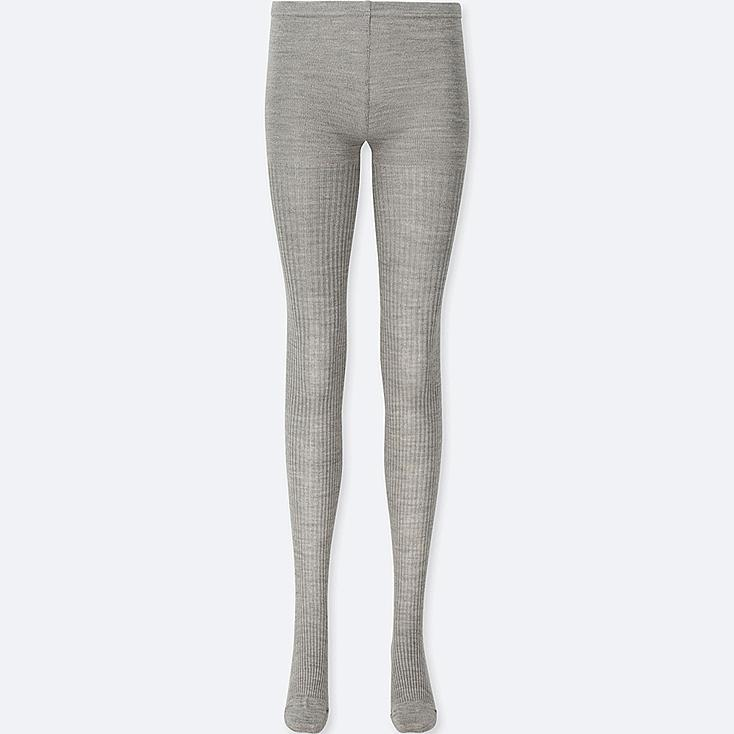 WOMEN HEATTECH KNITTED RIBBED TIGHTS, GRAY, large