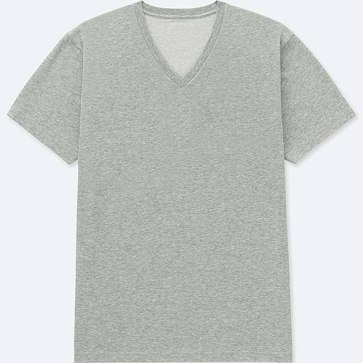 MEN PACKAGED DRY V-NECK SHORT-SLEEVE T-SHIRT, GRAY, large