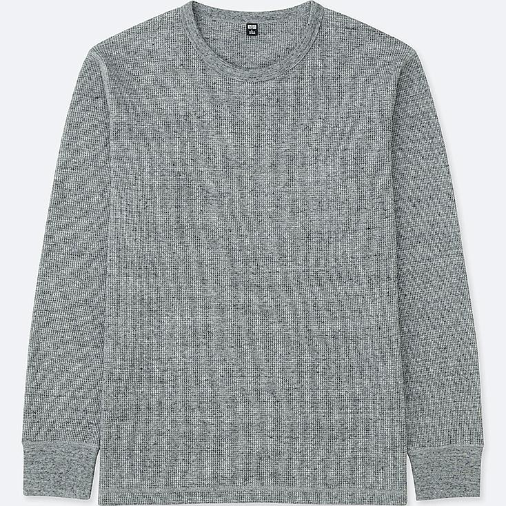 MEN WAFFLE CREW NECK LONG-SLEEVE T-SHIRT, GRAY, large
