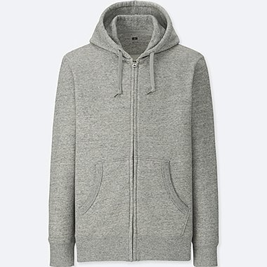 MEN LONG-SLEEVE FULL-ZIP HOODED SWEATSHIRT, GRAY, medium