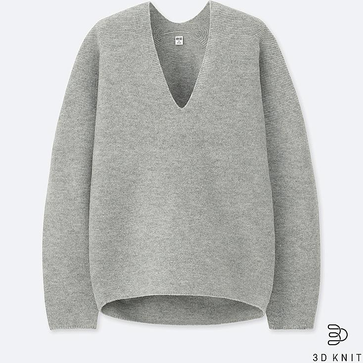 WOMEN 3D PREMIUM LAMBSWOOL SWEATER, GRAY, large