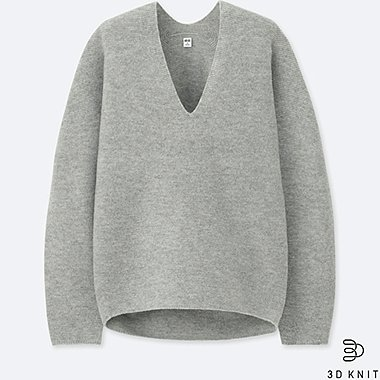 WOMEN 3D PREMIUM LAMBSWOOL SWEATER, GRAY, medium