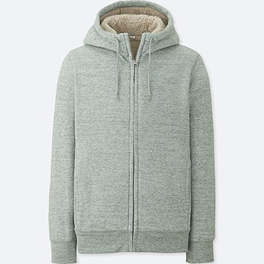 MEN PILE-LINED SWEAT FULL-ZIP HOODIE, GRAY, medium
