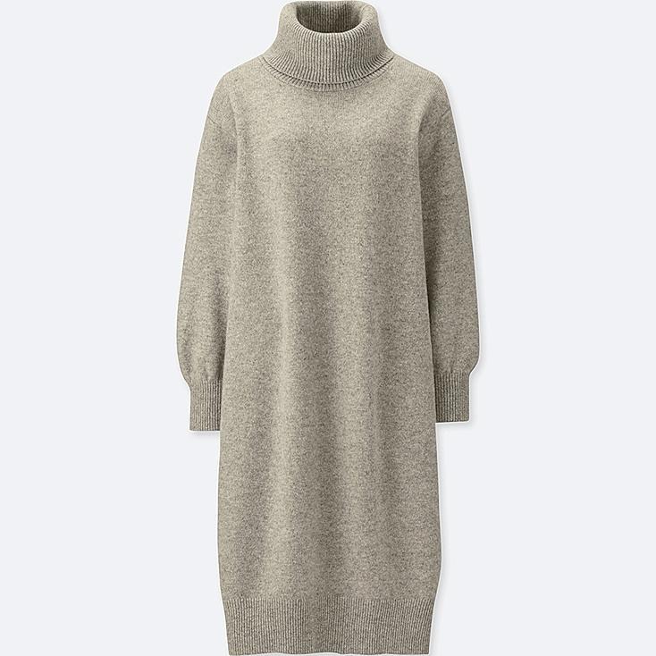WOMEN PREMIUM LAMBSWOOL TURTLENECK LONG-SLEEVE DRESS, GRAY, large