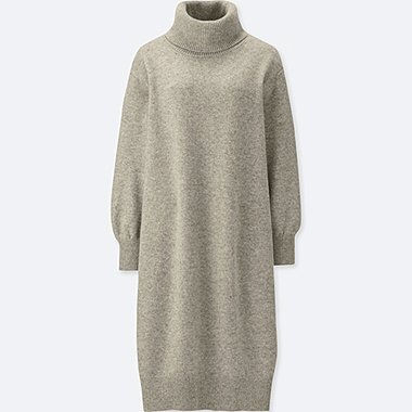 WOMEN PREMIUM LAMBSWOOL TURTLENECK LONG-SLEEVE DRESS, GRAY, medium