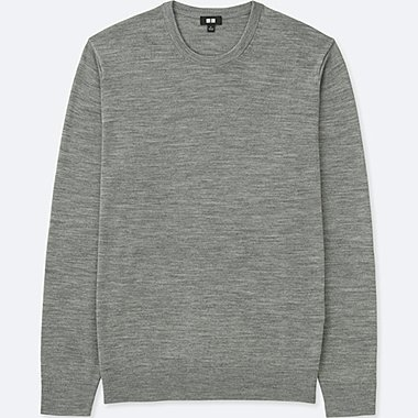 MEN EXTRA FINE MERINO CREW NECK LONG-SLEEVE SWEATER, GRAY, medium
