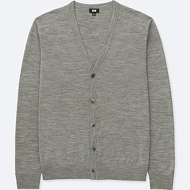 MEN EXTRA FINE MERINO V NECK CARDIGAN