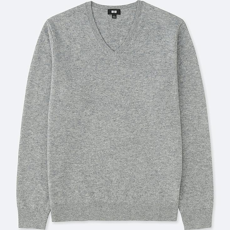 MEN CASHMERE V-NECK LONG-SLEEVE SWEATER, GRAY, large