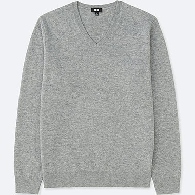 MEN CASHMERE V-NECK LONG-SLEEVE SWEATER, GRAY, medium