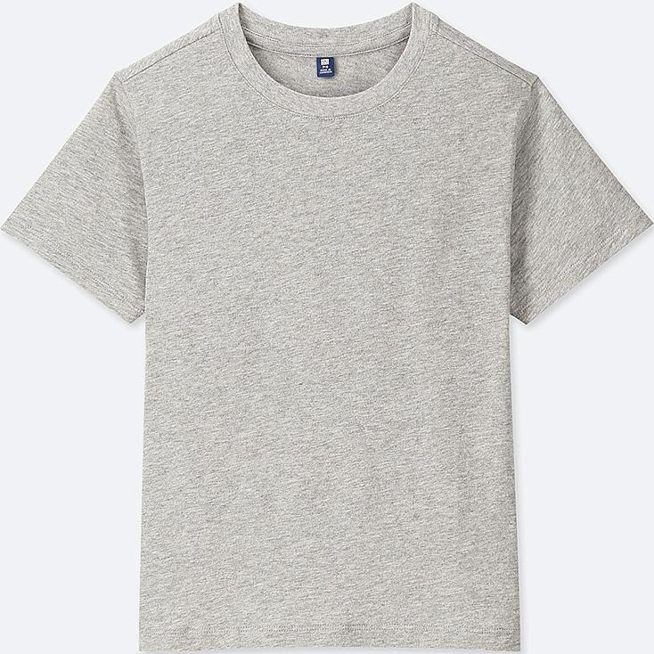 KIDS PACKAGED COLOR CREW NECK SHORT-SLEEVE T-SHIRT, GRAY, large