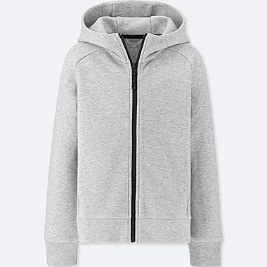 KIDS DRY STRETCH SWEAT LONG-SLEEVE FULL-ZIP HOODIE, GRAY, medium