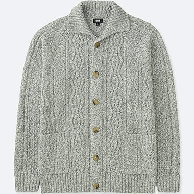MEN CABLE KNIT LONG SLEEVED CARDIGAN