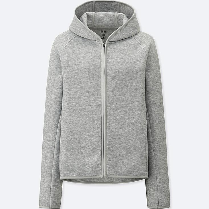 WOMEN DRY SWEAT LONG-SLEEVE FULL-ZIP HOODIE, GRAY, large