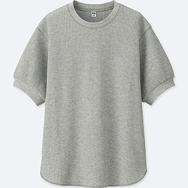 WOMEN WAFFLE CREWNECK HALF-SLEEVE T-SHIRT, GRAY, medium