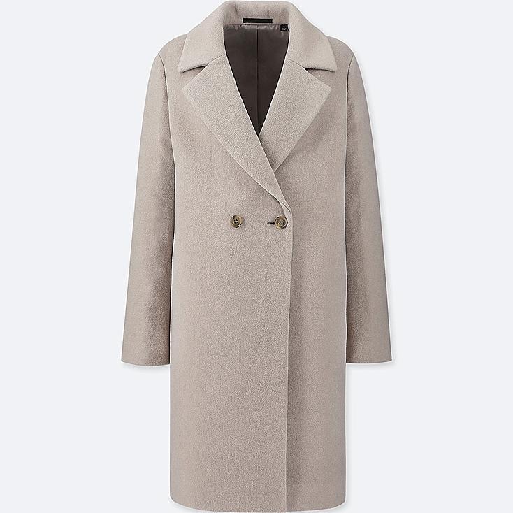 WOMEN LIGHTWEIGHT WOOL-BLEND TAILORED COAT, GRAY, large