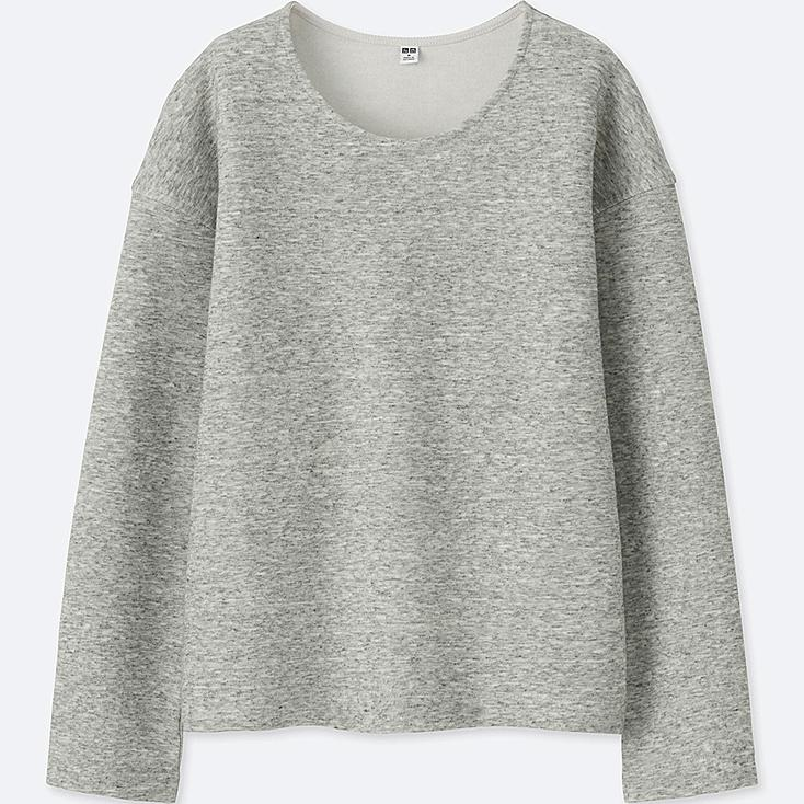 WOMEN DOUBLE FACE LONG-SLEEVE PULLOVER, GRAY, large