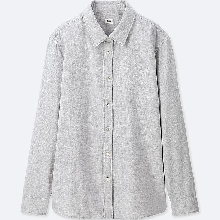 WOMEN Flannel Long Sleeve Shirt, GRAY, large
