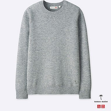 MEN CASHMERE CREWNECK LONG-SLEEVE SWEATER, GRAY, medium