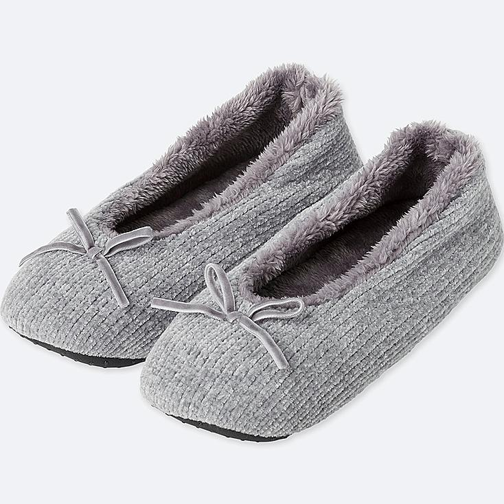 WOMEN CHENILLE BALLET SLIPPERS, GRAY, large