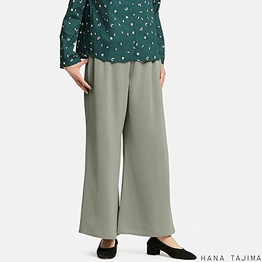 WOMEN HANA TAJIMA SATIN WIDE LEG ANKLE LENGTH TROUSERS