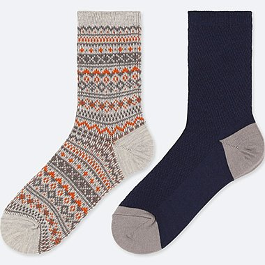 BOYS HEATTECH SOCKS (SET OF 2), GRAY, medium
