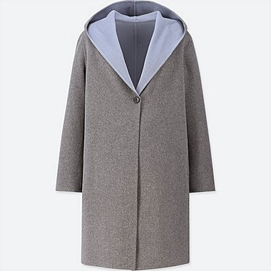 WOMEN DUAL LAYER WOOL HOODED COAT