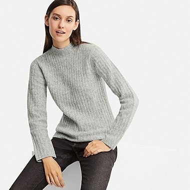 WOMEN RIBBED MOCK NECK JUMPER