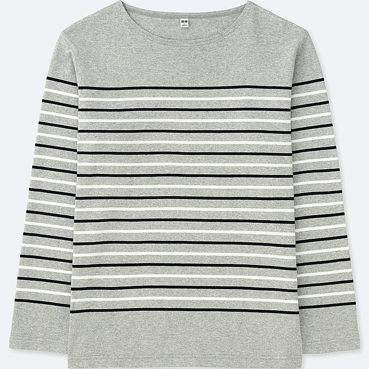 MEN WASHED STRIPED LONG-SLEEVE T-SHIRT, GRAY, large