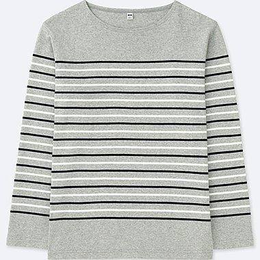 MEN WASHED STRIPED LONG-SLEEVE T-SHIRT, GRAY, medium