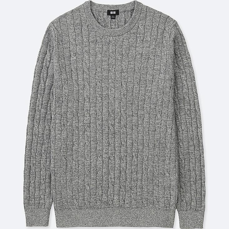 MEN COTTON CASHMERE CABLE LONG-SLEEVE SWEATER | Tuggl