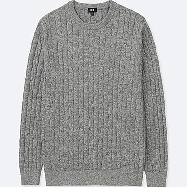 MEN COTTON CASHMERE CABLE LONG-SLEEVE SWEATER, GRAY, medium