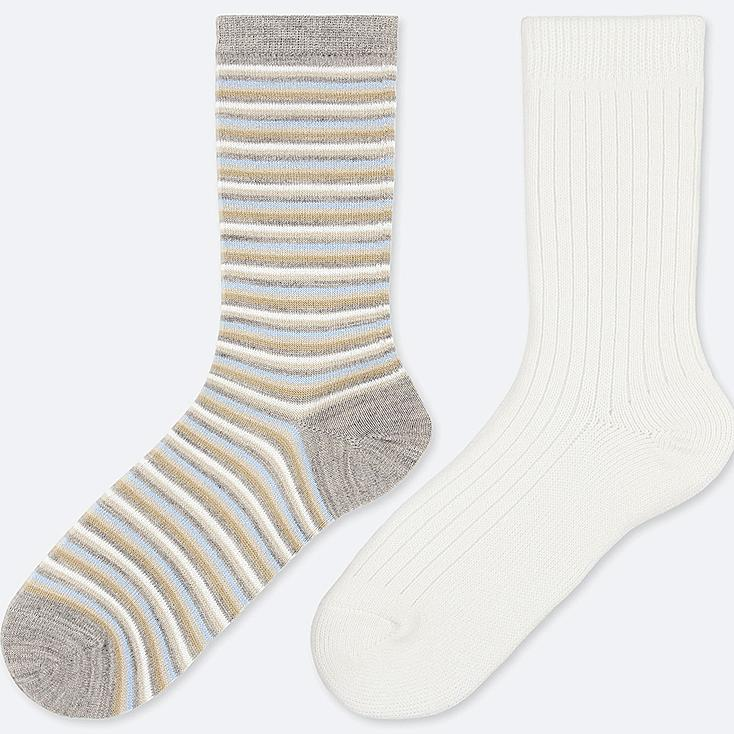WOMEN HEATTECH STRIPED SOCKS (2 PAIRS), GRAY, large