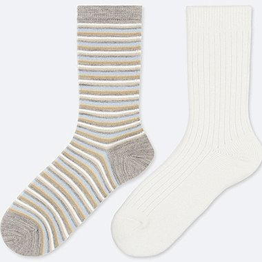 WOMEN HEATTECH STRIPED SOCKS (2 PAIRS), GRAY, medium