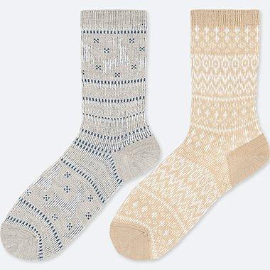 WOMEN HEATTECH FAIR ISLE SOCKS (2 PAIRS), GRAY, medium