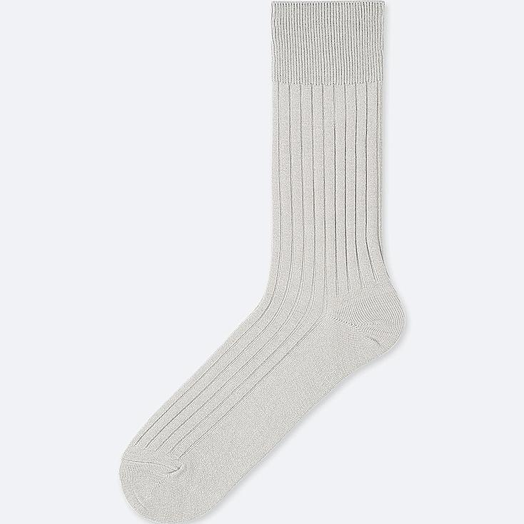 MEN HEATTECH WIDE-RIBBED SOCKS, GRAY, large