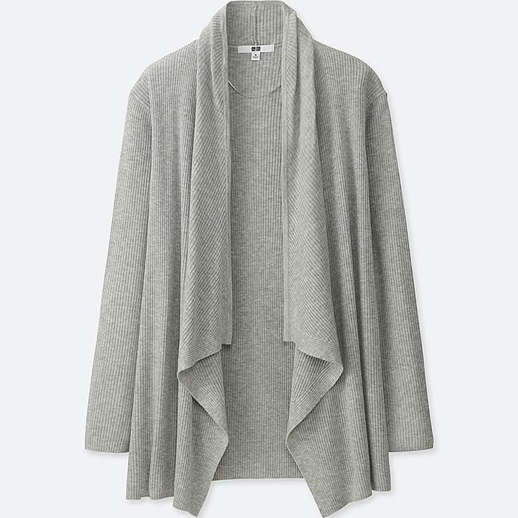 WOMEN RIBBED DRAPE LONG-SLEEVE CARDIGAN | Tuggl