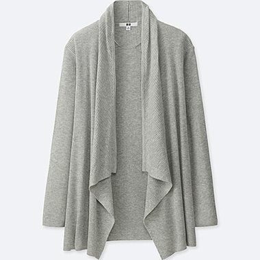 WOMEN RIBBED DRAPE LONG-SLEEVE CARDIGAN, GRAY, medium
