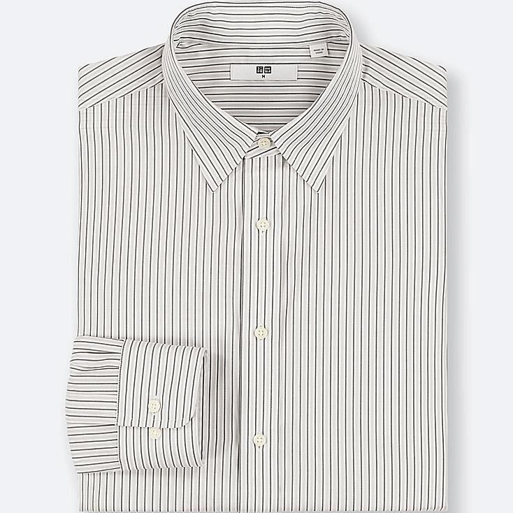 MEN EASY CARE STRIPED REGULAR-FIT LONG-SLEEVE SHIRT (ONLINE EXCLUSIVE), GRAY, large