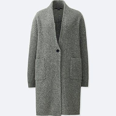 WOMEN WOOL RIBBED KNITTED COAT, GRAY, medium