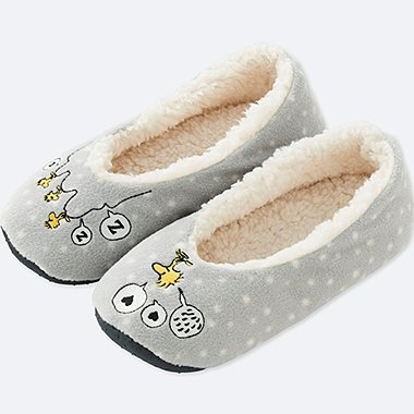 PEANUTS FLEECE SLIPPERS, GRAY, medium