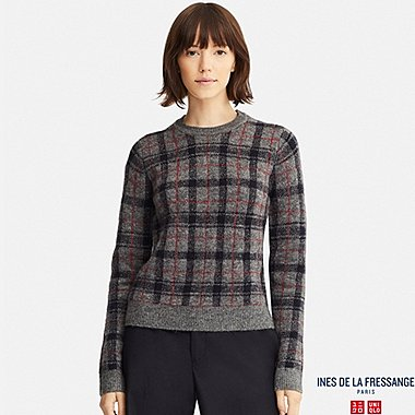 WOMEN JACQUARD SWEATER (INES DE LA FRESSANGE), GRAY, medium