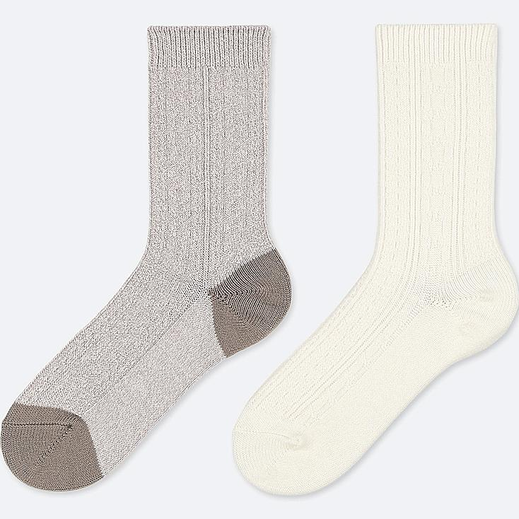 WOMEN HEATTECH CABLE SOCKS (2 PAIRS), GRAY, large