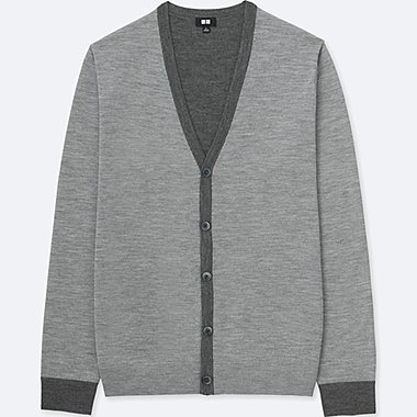 MEN EXTRA FINE MERINO V NECK CONTRAST TRIM CARDIGAN