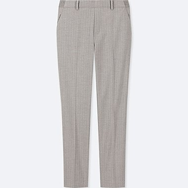 WOMEN EZY PINSTRIPED ANKLE LENGTH TROUSERS