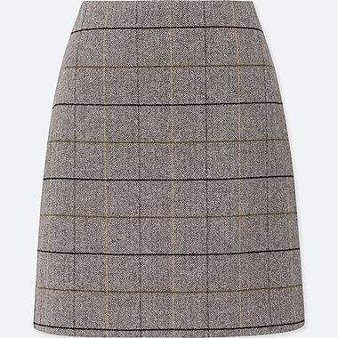 WOMEN WOOL BLEND HIGH WAISTED CHECKED MINI SKIRT