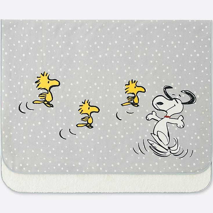 PEANUTS FLEECE LARGE BLANKET, GRAY, large
