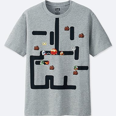THE GAME BY NAMCO MUSEUM SHORT-SLEEVE GRAPHIC T-SHIRT (DIG DUG), GRAY, medium
